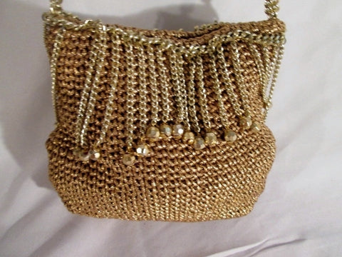 Vintage WALBORG Mini Hobo Knit Purse Bead Fringe Macrame GOLD Evening Bag