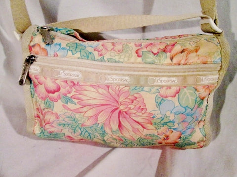 LESPORTSAC Nylon shoulder bag purse crossbody BEIGE FLORAL Vegan Le Sport Sac S