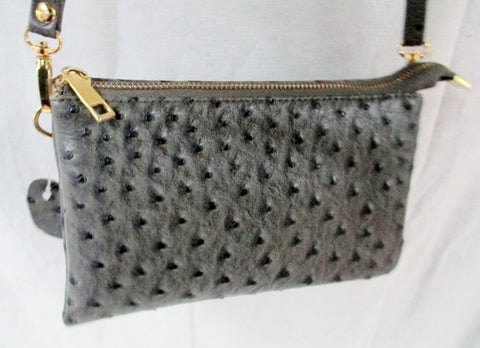 Mini messenger shoulder crossbody travel bag wallet FAUX OSTRICH GRAY wristlet