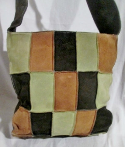 ME TOO PATCHWORK Suede Leather hobo shoulder bag BROWN GREEN crossbody hippie sling