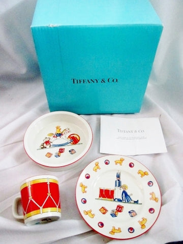 NEW Tiffany & Co Toys Drummer Three 3 Piece Child Set Bowl Cup Dish 1992 Plate