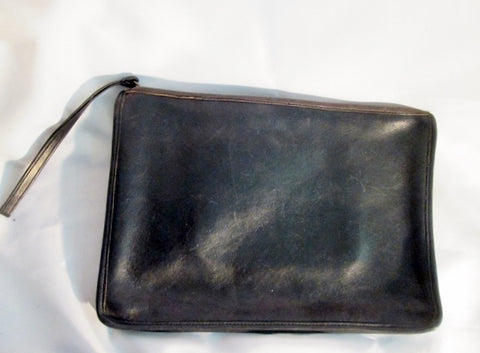 Vintage COACH NY USA Leather Wristlet Document Holder Pouch Case PORTFOLIO BLACK