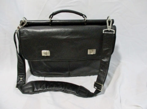 Handcrafted JOHNSTON & MURPHY LEATHER bag attache briefcase BLACK shoulder messenger