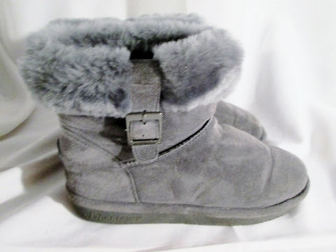 Womens BEARPAW ABBY SHORT Suede BOOT Sheepskin GRAY 7 Bootie Winter Wool