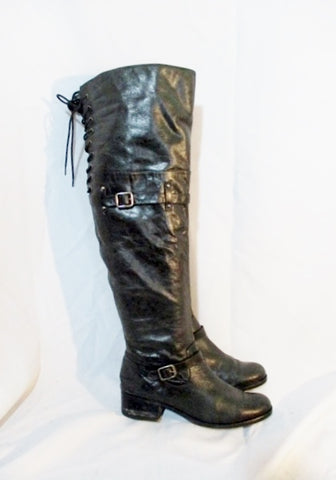 BRAZIL LEATHER Back Lace Up BOOT GRANNY Victorian Steampunk Stud  6.5 BLACK