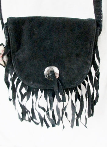 NEW NWT MINNETONKA suede FRINGE leather hobo satchel shoulder saddle bag BLACK