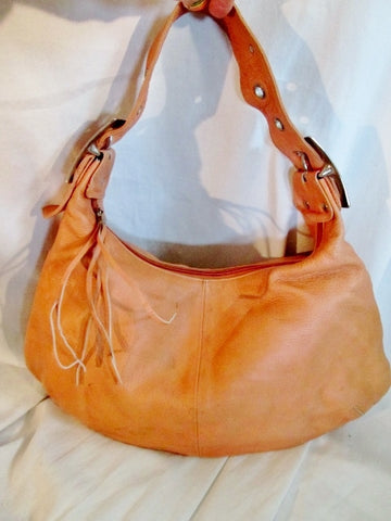 CHRISTOPHER KON Leather Shoulder BAG Hobo slouch ORANGE MELON CANTALOUPE