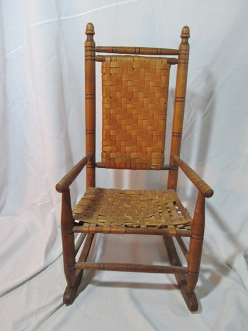 "Antique Vintage Handmade Child's 28"" WOOD WOODEN ROCKING CHAIR Woven Estate Find Doll"