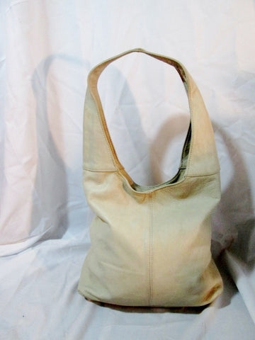 BORSE IN PELLE ITALY leather hobo satchel shoulder sling bag bucket CREME WHITE duffel