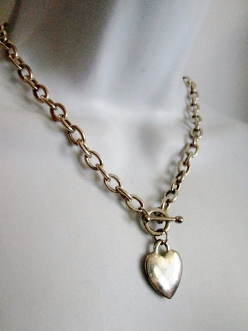 "16"" HEART CHAINLINK PENDANT Necklace SILVER Choker LOVE Soulmate Bestie Rope Jewelry"