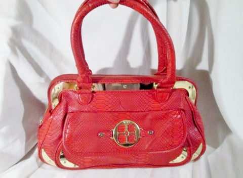 IMAN Vegan leather faux snakeskin python tote bag satchel RED purse L