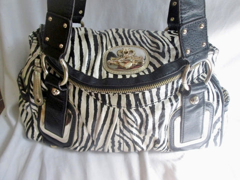 KATHY VAN ZEELAND Vegan Tote Bag Satchel Shoulder Bag Purse ZEBRA BLACK WHITE