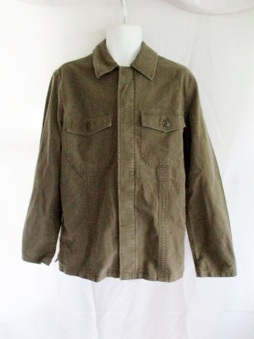 NEW NWT Mens GAP Shirt Cotton Button-Up Coat jacket M GREEN OLIVE Pockets