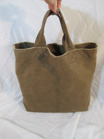 GAP Canvas Tote Bag Purse Carryall Beach Book Pockets OLIVE GREEN Rustic