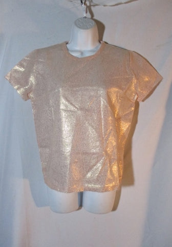 NEW PRADA ITALY MOHAIR PINK GOLD Top Blouse 42 6 Short Sleeve