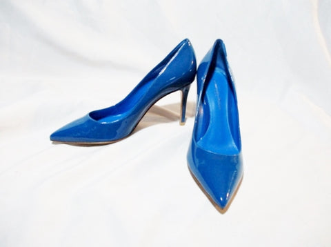 NEW GIANVITO ROSSI VERNICE CAPRI Pump Shoe BLUE 36 6 PATENT LEATHER Mule High Heel Womens