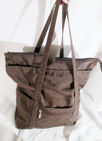 BAGGALLINI Nylon shoulder tote carryall shopper beach book vegan BROWN bag purse