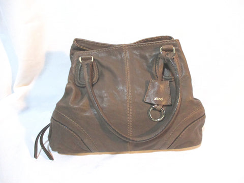 ABRO leather hobo satchel shoulder bag BROWN purse Tote