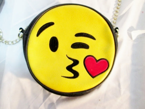 NEW NWT KISSY FACE EMOJI Crossbody Shoulder Travel BAG YELLOW BLACK HEART