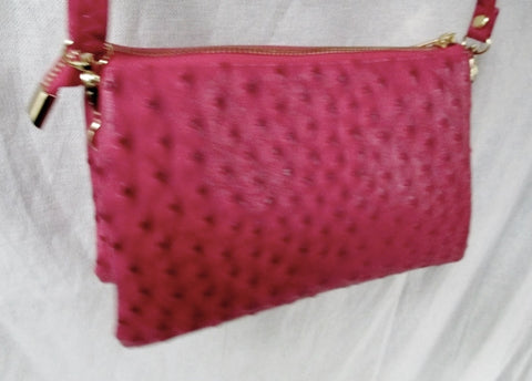 Mini messenger shoulder crossbody travel bag wallet FAUX OSTRICH RED wristlet