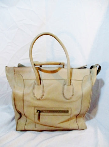 CELINE PARIS ITALY Leather MEDIUM SHOPPER Tote Bag TAUPE BROWN BEIGE