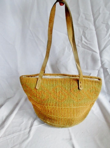 Woven Leather Jute Twine Bucket Basket Sling Satchel Shoulder Market Bag TAN BLUE NATURAL