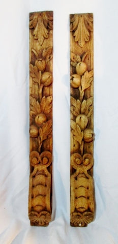 Set 2 Vintage ANTIQUE Carved Wood Wall Hanging ART Panel FLOWER BULB Architectural Salvage