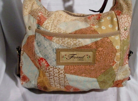 FOSSIL leather cloth messenger satchel shoulder crossbody bag PATCHWORK FLORAL