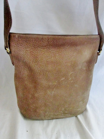 Pebbled SUEDE LEATHER Satchel Hobo Bag Bucket Sling BROWN BEIGE Hipster Boho