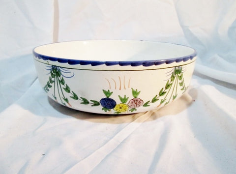 "11"" NEUWIRTH PORTUGAL FATIMA Hand Painted Ceramic Pottery BOWL WHITE Blue Floral"