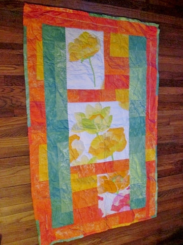 Handmade 60 x 37 QUILT Blanket Throw Bedspread Cover ORANGE GREEN FLORAL Stitch