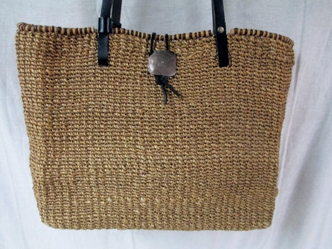 NINE WEST Woven RATTAN Tote Market Bag Satchel Shopper Shoulder Purse BEIGE