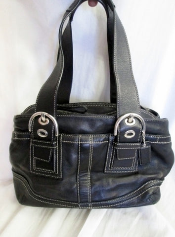 COACH F10911 SOHO Leather Satchel Purse Shoulder Bag BLACK NICKEL Stitch