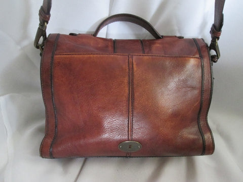 FOSSIL VINTAGE leather messenger crossbody shoulder flap hobo bag BROWN KEY M