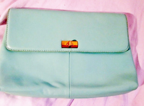 J. CREW Leather Baguette Wristlet Purse Wallet Clutch Flap Bag SEAFOAM BLUE Mermaid