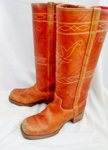 Womens Tall Leather LONGHORN Stitch HORSE Cowboy Boot SADDLE 8 BROWN Western