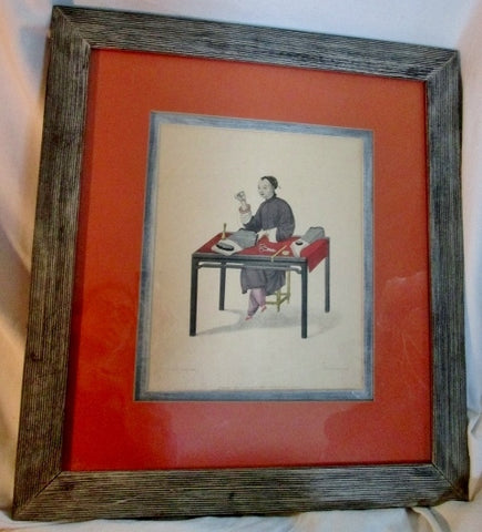 Antique 1779 MILLER LONDON PU-QUA CANTON PRINT Sewing CHINESE INDUSTRY SERIES Asian ART Frame Picture