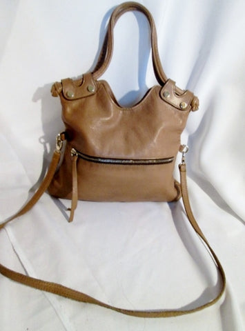 GG BOSS USA Buttery Soft Leather Shoulder Bag Foldover Tote TAUPE BROWN Stud