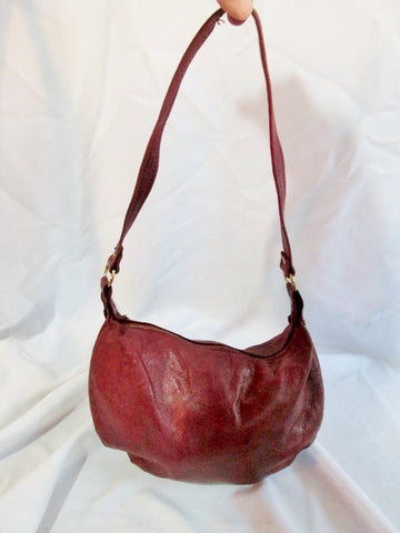Vintage MARGOLIN Glove Sort Leather Hobo Satchel Purse Shoulder Bag RED BURGUNDY Handbag