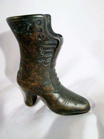 ANTIQUE ITALY Cast Iron VICTORIAN BOOT SHOE Planter Primitive BLACK Art Steampunk  Rustic