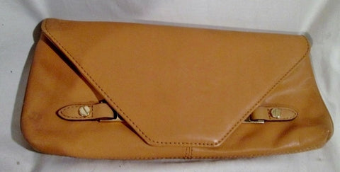 ISAAC MIZRAHI NEW YORK LEATHER BAG Clutch Carryall Purse Case Pouch Wristlet BROWN COGNAC