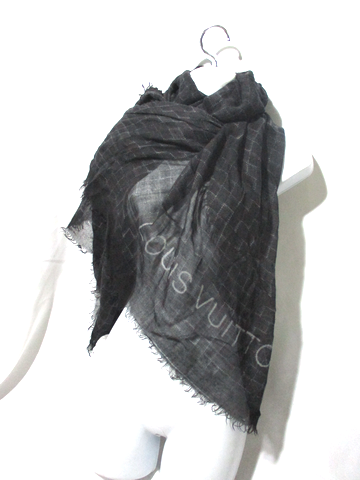 LOUIS VUITTON PARIS CASHMERE SILK SCARF BLACK GRAY Plaid Fringe Check