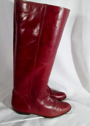 Womens 9 WEST LOUISA LEATHER Equestrian RIDER Tall BOOT BROWN 7 Red Burgundy Gogo