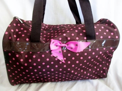 NEW J GARDEN POLKA DOT BOW GIRLS SLEEPOVER Vegan Duffle Bag Overnighter BROWN PINK