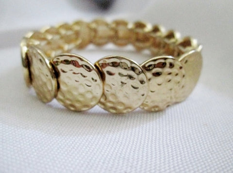 Hammered Arts & Crafts Style DISC BRACELET Jewelry Boho Goldtone Hippie