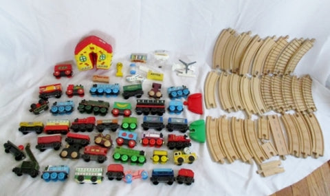 HUGE Lot Set THOMAS TANK ENGINE WOOD TRAIN SET Track Train Car Toy BRIO Railway