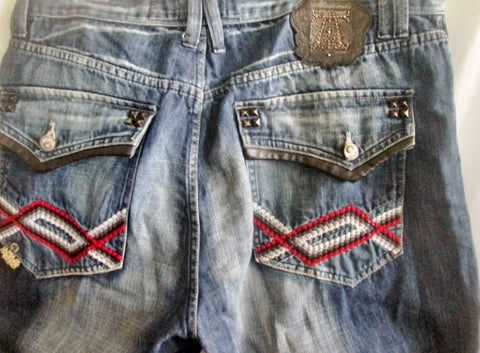 Mens AKADEMIKS NATIVE TRIBAL EMBROIDERED JEANS PANTS 40X35 SPIKE BLUE