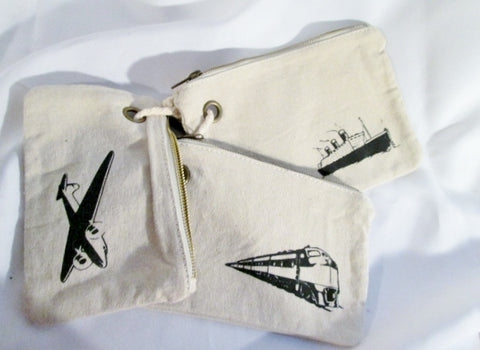 NEW TRANSPORTATION Vegan Canvas Rustic Boho Pouch Bag Pencil Case Set BEIGE TAN