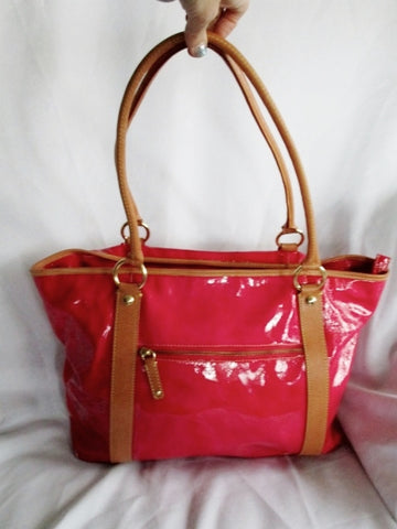 CAVALCANTI ITALY Patent Leather Gloss Tote Handbag Satchel Purse PINK BERRY