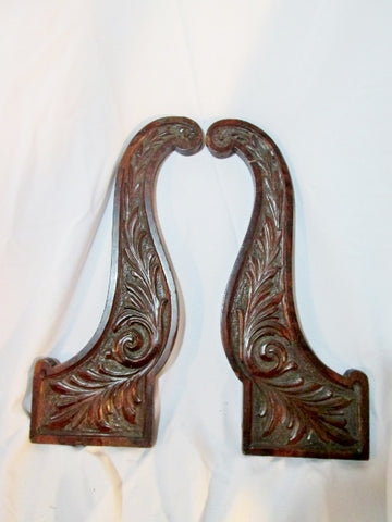 Set 2 Vintage ANTIQUE Carved Wood Wall Hanging ART Panel Architectural Salvage